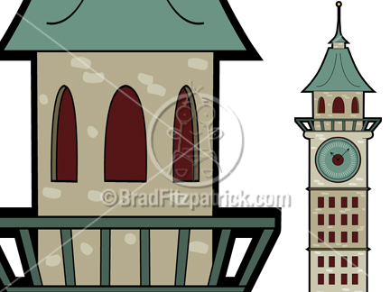Towers clipart cartoon Illustration Tower Tower Tower Clock