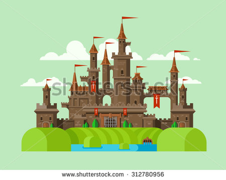 Towers clipart flat building Building with ancient Tower vector