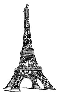 Eiffel Tower clipart line drawing Line digistamp PRINT for printable