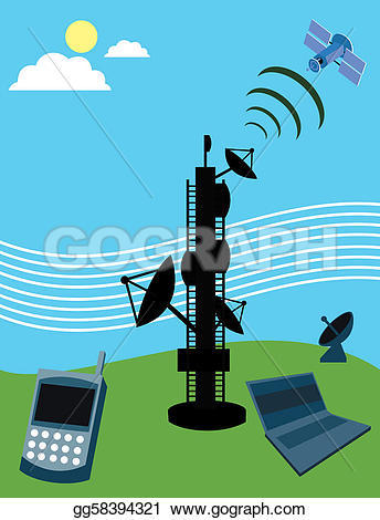 Towers clipart satellite tower Telecom laptop mobile and satellite;