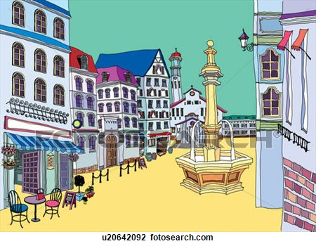 Old Town clipart rothenburg ob der tauber Clipart Square Square Town Download