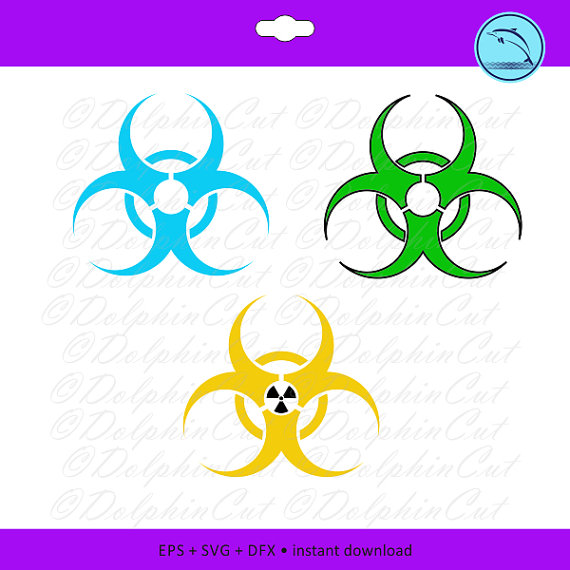 Toxic clipart emblem Vector for DolphinCut BioHazard cutting