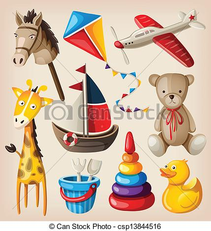 Artwork clipart colorful  stock Set vintage Toy