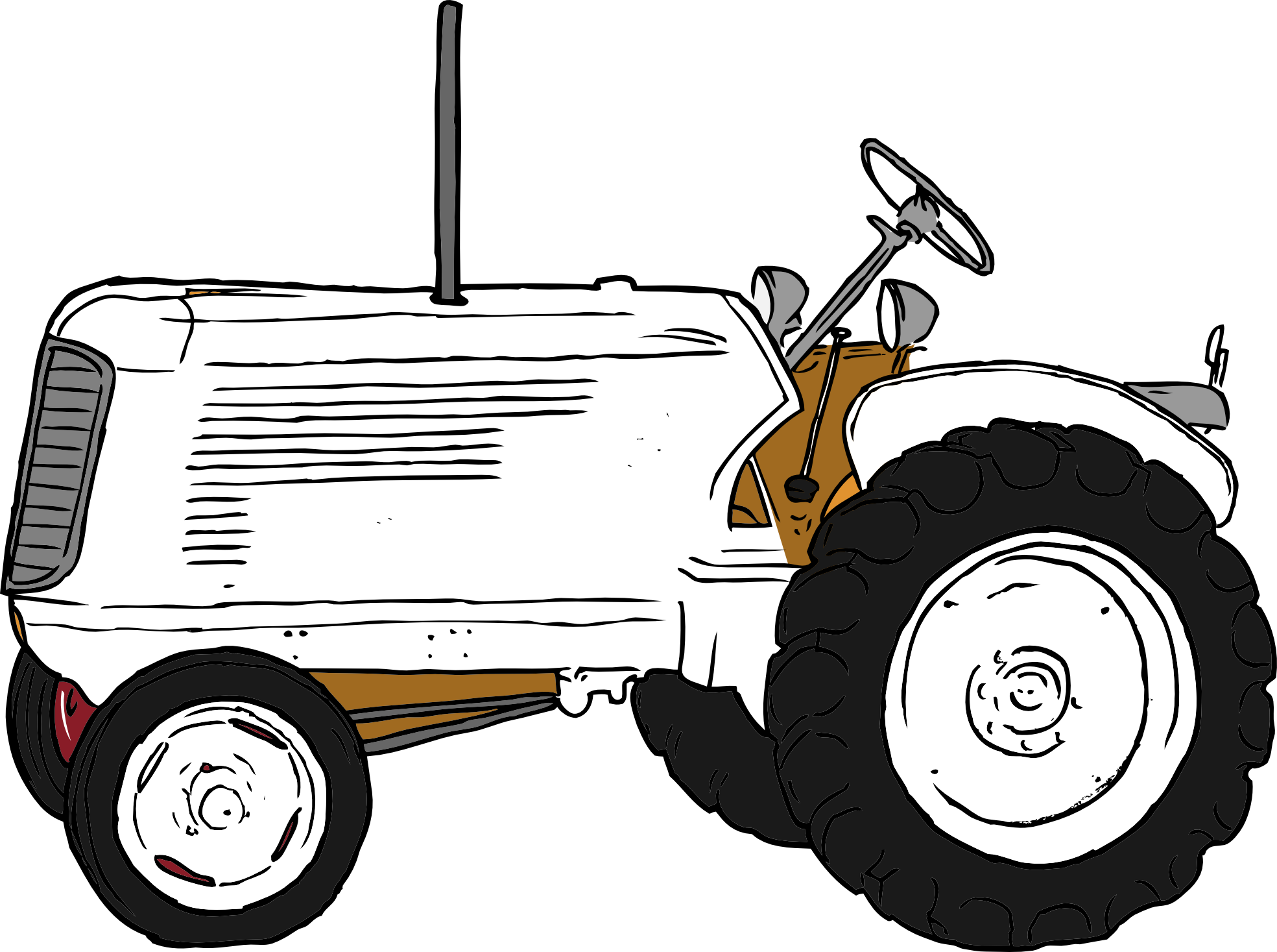 Tractor clipart black and white #8