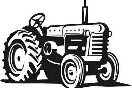 Tractor clipart black and white #12