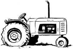 Tractor clipart black and white #9