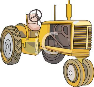 Tractor clipart yellow tractor #8