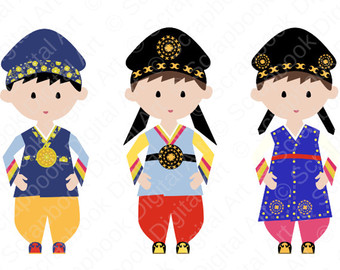 Traditional clipart christmas cake Hanbok Dress Girl Boy Hanbok