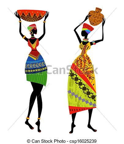 Traditional clipart national costume EPS woman headgear  African