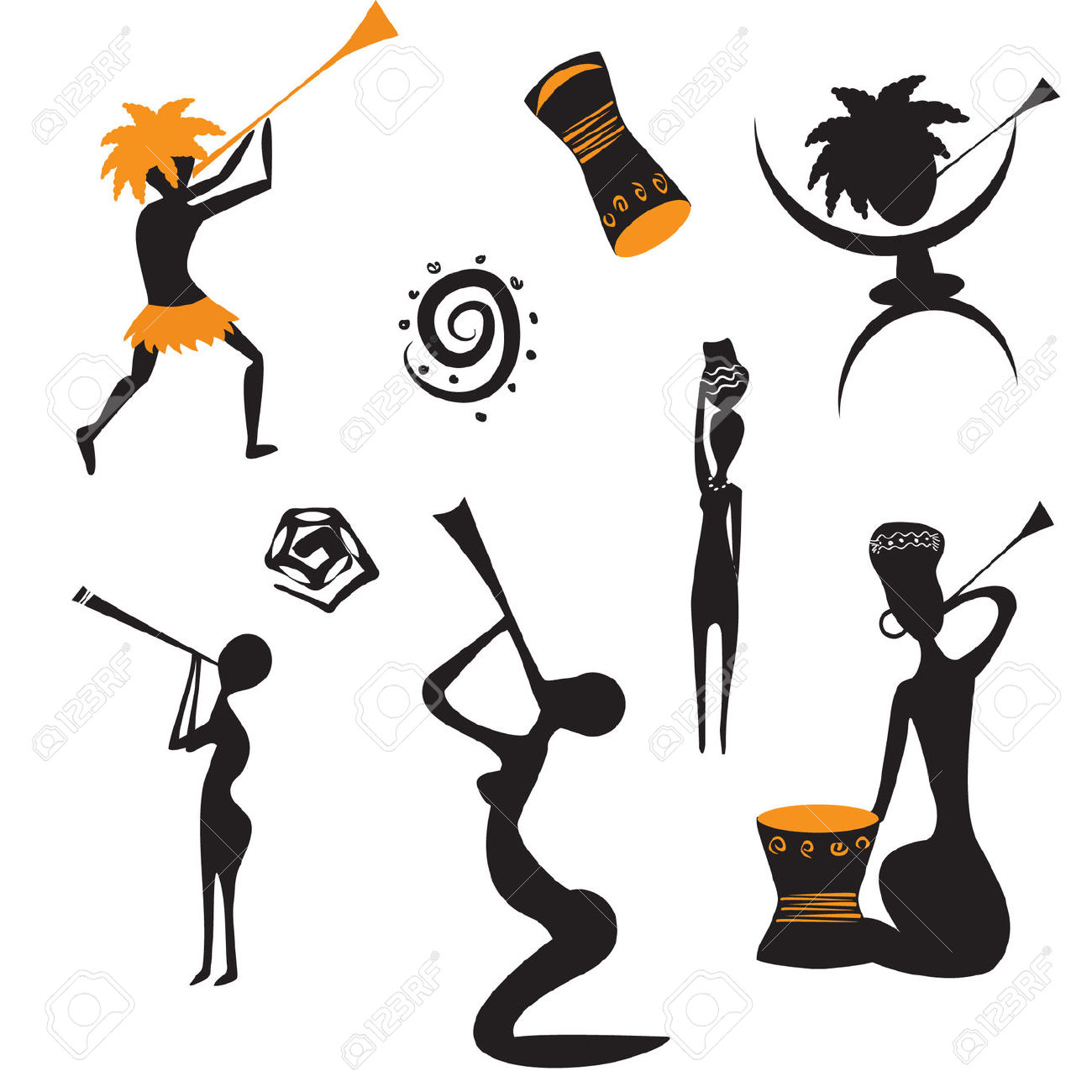 Continent clipart african music Royalty Stock African Cliparts African