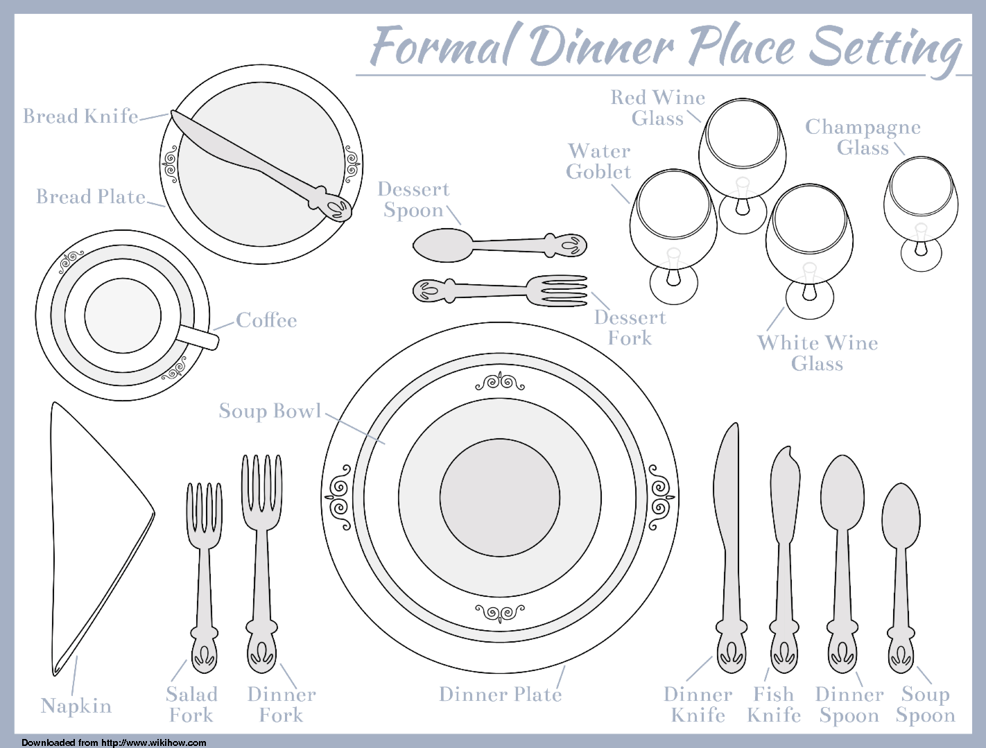 Traditional clipart formal dinner For meal course Pinterest Template