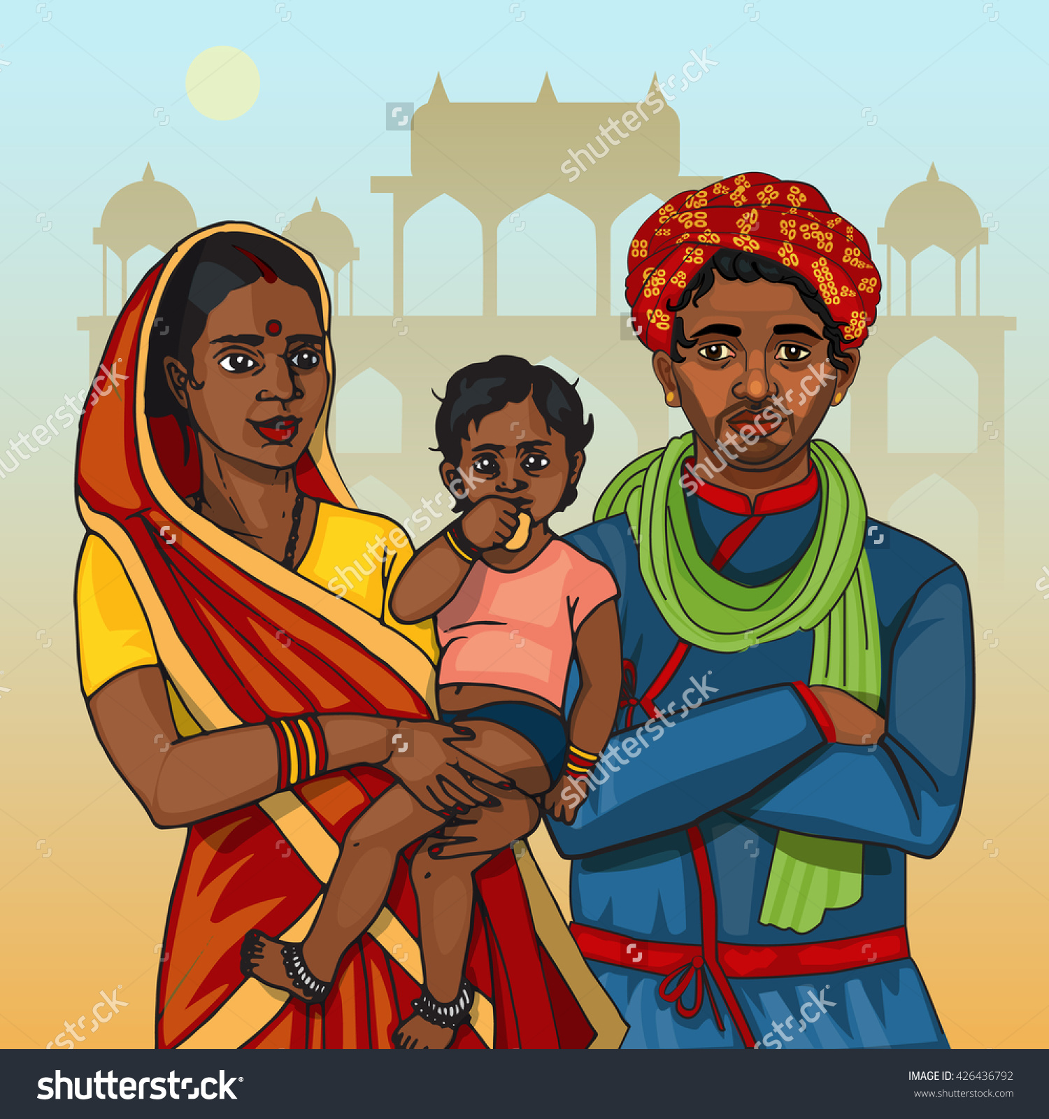 Traditional clipart indian mother Stock indian family Holding collections
