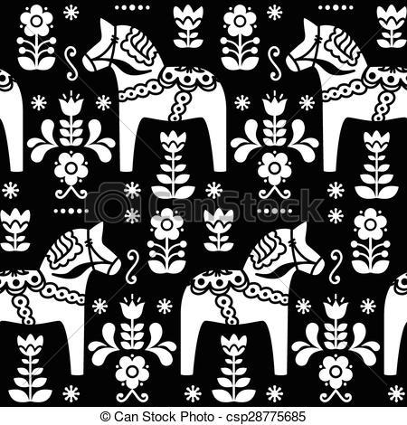 Scandinavia clipart dala horse Vector pattern pattern  of