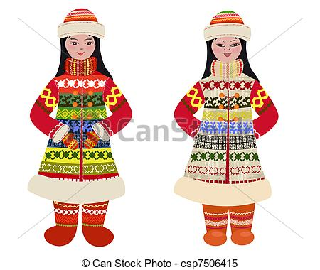 Traditional clipart national costume Peoples in of Vector in