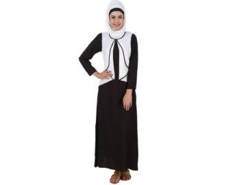 Traditional Costume clipart abaya White Abaya Green Fancy Stylish