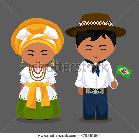 Traditional clipart national costume Man costume woman in Brazilians