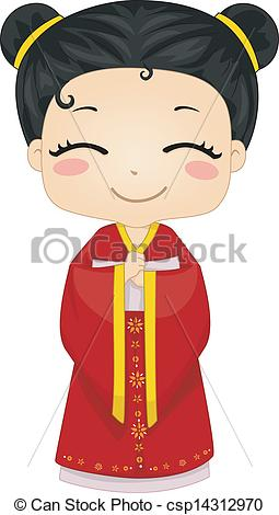 Traditional Costume clipart chinese woman Little National of Vectors Little