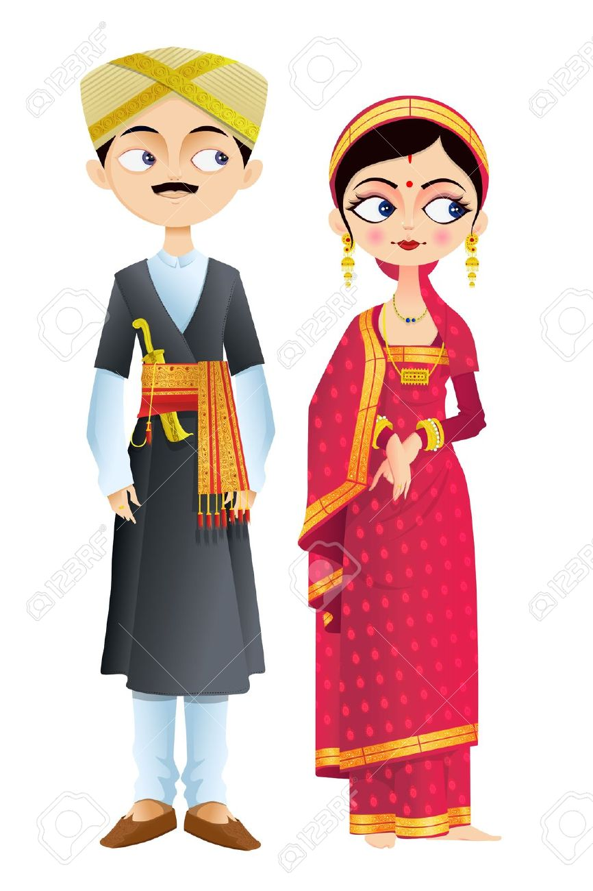 Traditional Costume clipart indian lady Karnataka traditional Vectors Of dress
