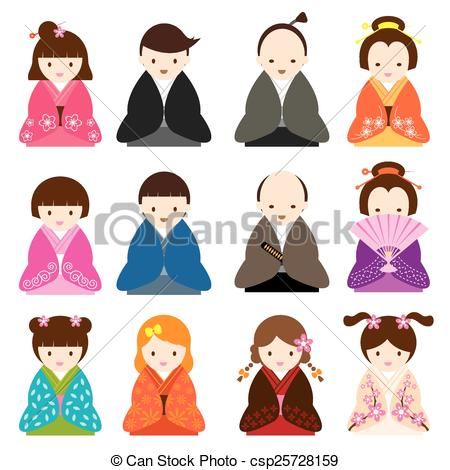 Traditional Costume clipart Royalty stock illustration Japanese Traditional