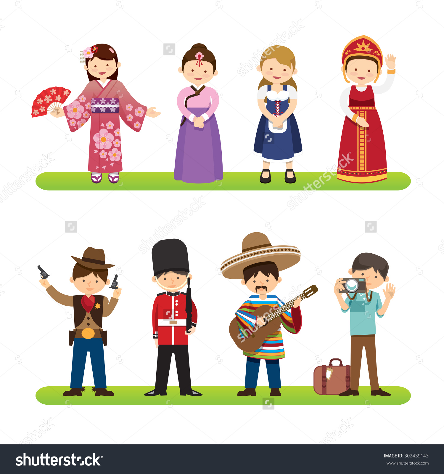 Traditional Costume clipart Background isolated on Set people