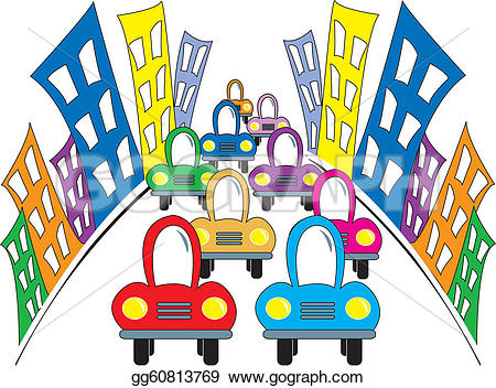 Traffic clipart busy road Street gg60813769 of cartoon Art