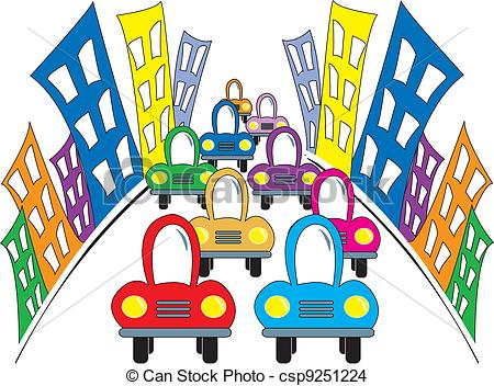 Traffic clipart busy street Cartoon drawing city Busy simple