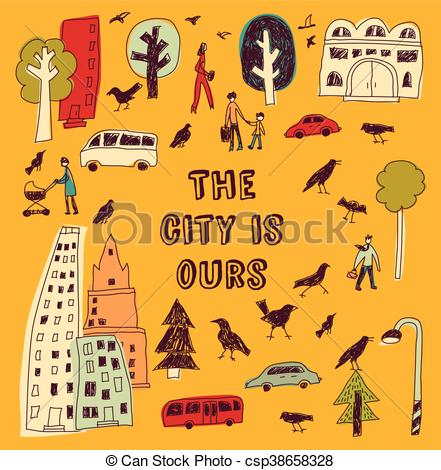 Traffic clipart city life Square cards Illustration of Doodles