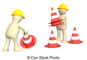 Traffic clipart control Two with cones  3d