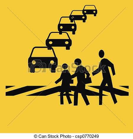 Traffic clipart crosswalk Illustration of in pedestrians safety