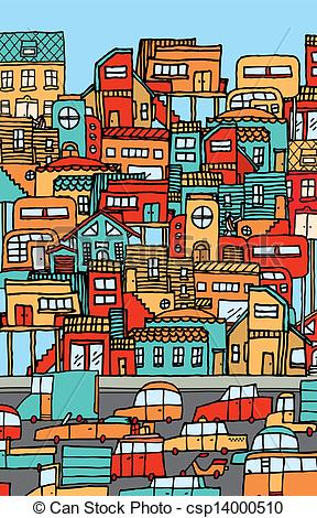 Traffic clipart crowded city Crowded city  Vector csp14000510