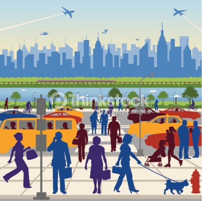 Traffic clipart crowded city People Illustrations clipart city Transit