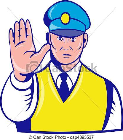 Traffic clipart inforcer Illustration holding police holding stop