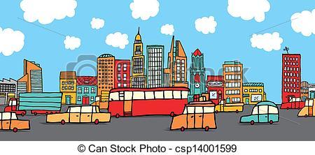 Traffic clipart traffic scene City of Art the EPS