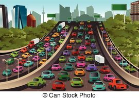 Traffic clipart traffic scene View of  Aerial Vector
