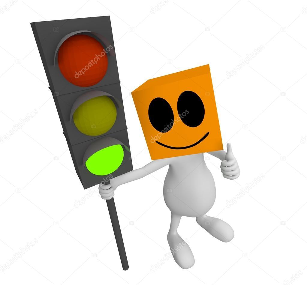 Traffic Light clipart green man Little green — Stock Man