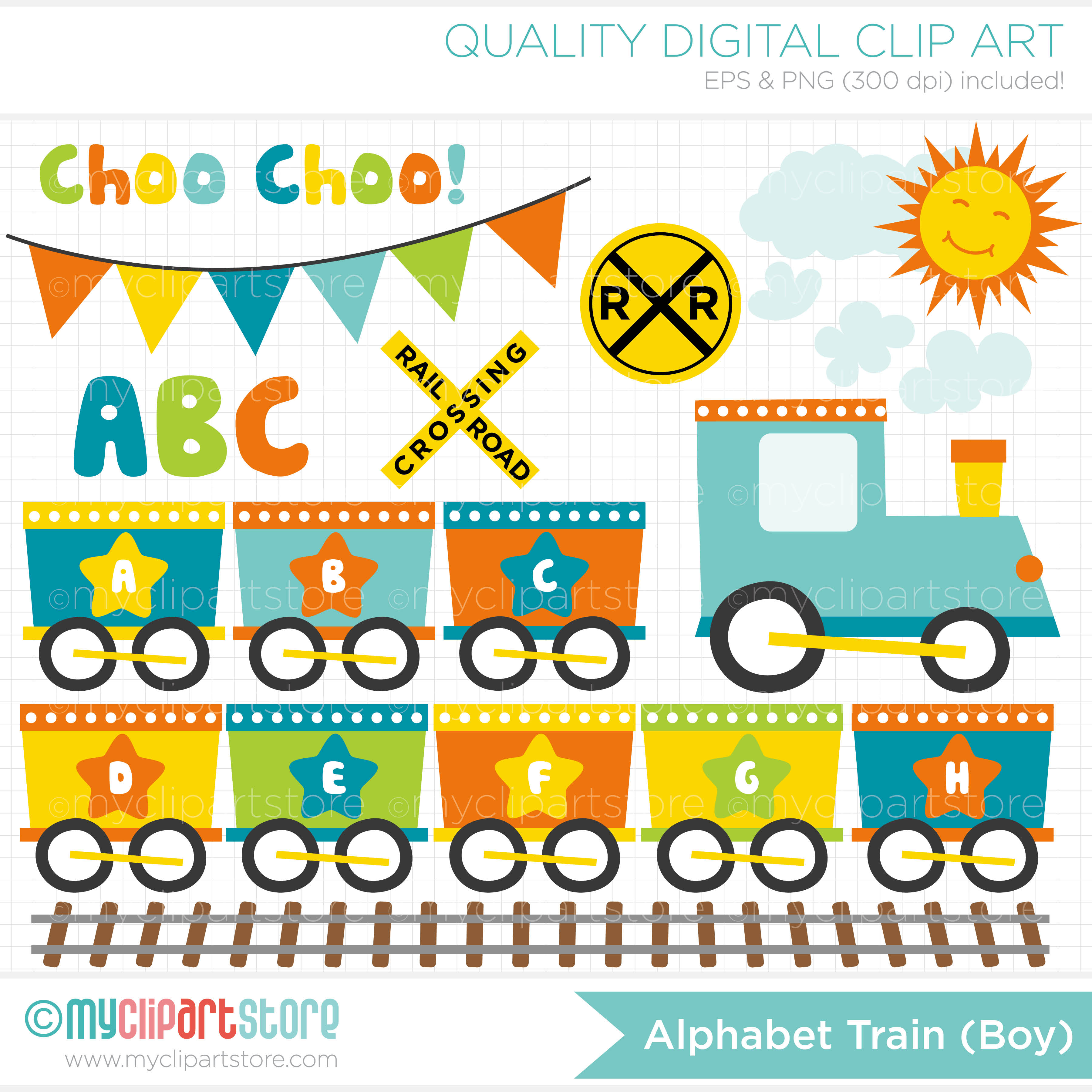 Train clipart alphabet #10