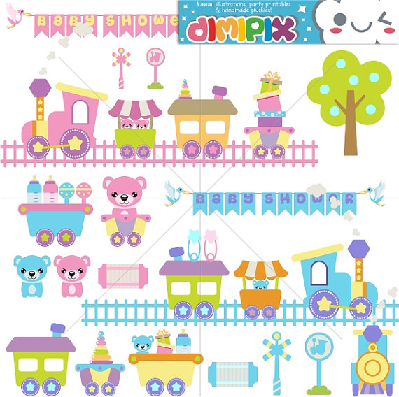 Train clipart baby shower #3