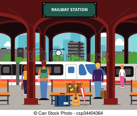 Railway Station clipart passenger train Clip Download Station Art Station