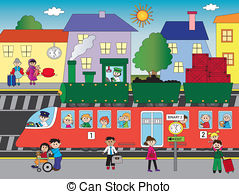 Train Station clipart animated Train 936 with station 6