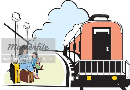 Train Station clipart train platform Mother daughter train for a