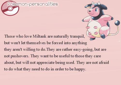 Tranquility clipart easy going Pokemon  Personalities: Miltank things