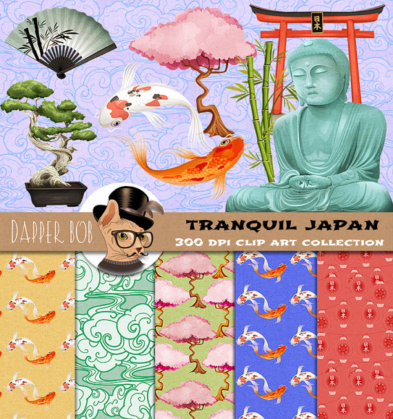 Tranquility clipart japanese Papers Etsy Clip Studio Etsy