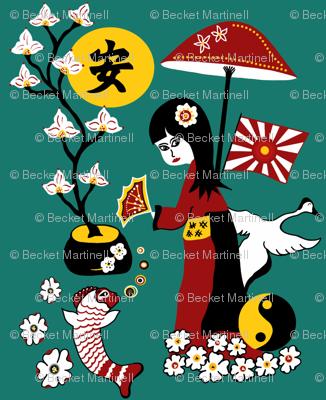 Tranquility clipart japanese Garden Spoonflower sewindigo Japanese sewindigo