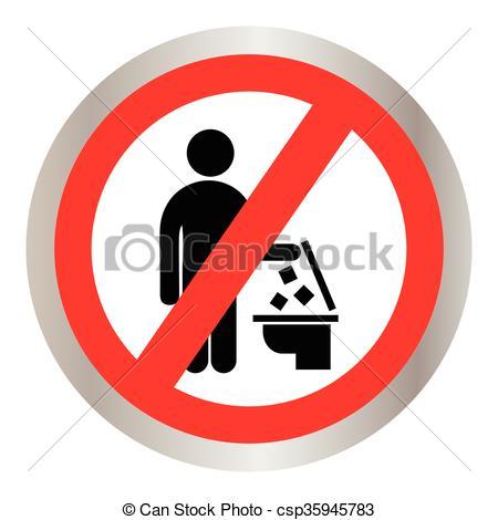 Trash clipart do not In in Toilet Vector trash