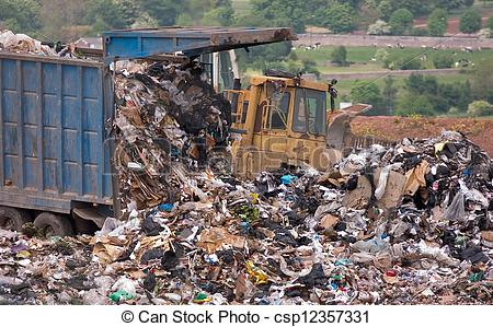 Trash clipart landfill site Of of dumped the on