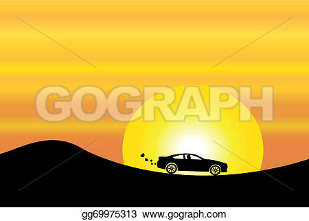 Travel clipart car smoke  bright silhouette on with