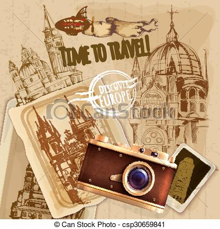 Photography clipart vintage travel Poster Travel to Vintage Europe