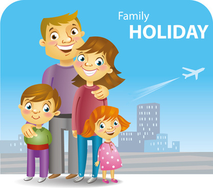 Travel clipart family holiday Vector (400 vector) Free commercial