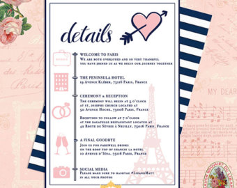 Travel clipart itinerary Paris French Wedding Wedding Itinerary