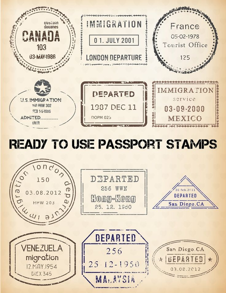 Stamp clipart us passport #8